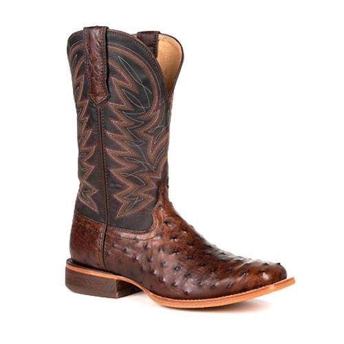 Durango® Mens Premium Exotic Full-Quill Antiqued Saddle Western Boot DDB0274 ANTIQUED SADDLE OSTRICH