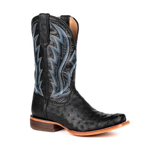 Durango® Mens Premium Exotic Full-Quill Ostrich Midnight Western Boot DDB0275 MIDNIGHT OSTRICH