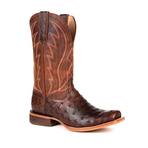 Durango® Mens Premium Exotic Full-Quill Ostrich Chestnut Western Boot DDB0276 ANTIQUED CHESTNUT OSTRICH