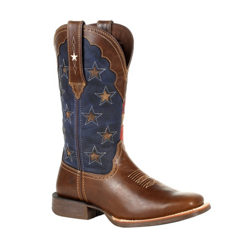 Durango® Lady Rebel Pro Women's Vintage Flag Western Boot DRD0393 SABLE BROWN AND VINTAGE FLAG