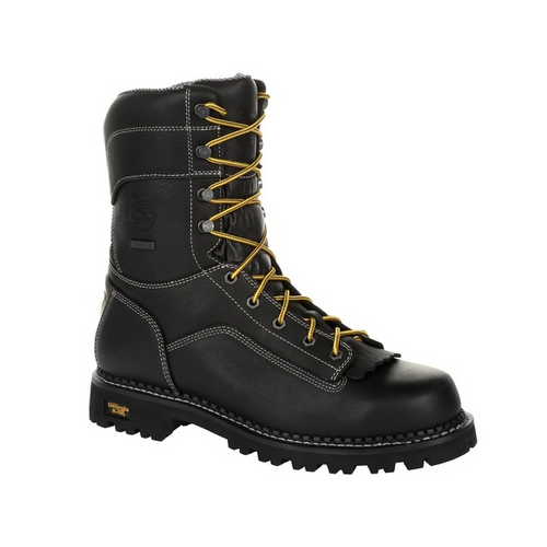 Georgia Boot Mens AMP LT Logger Low Heel Waterproof Work Boot GB00271 BLACK
