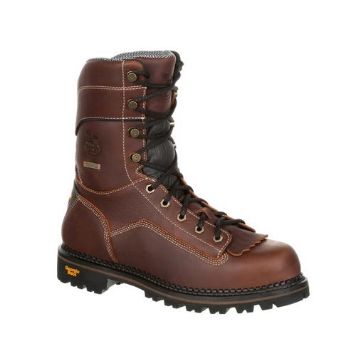 Georgia Boot Mens AMP LT Logger Low Heel Waterproof Work Boot GB00237 BROWN