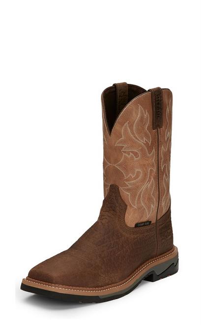 "Justin Mens Boots WK4103 11"" STAMPEDE BOLT BUFF COMP TOE"