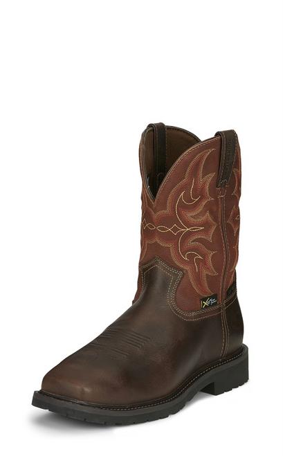 "Justin Mens Boots WK3007 10"" RICOCHET WATERPROOF COMP TOE PR PULL ON"