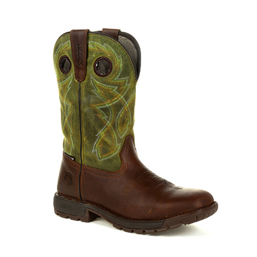 Rocky Mens Legacy 32 Waterproof Western Boot RKW0318 BROWN AND GREEN