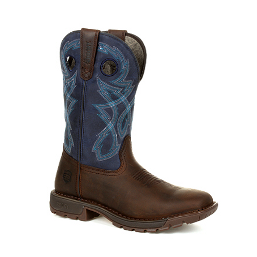 Rocky Mens Legacy 32 Western Boot RKW0317 DARK BROWN AND BLUE