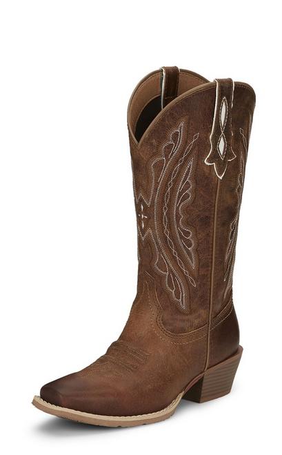 """Justin Ladies Boots L2962 12"""" REIN WAXY TAN"""