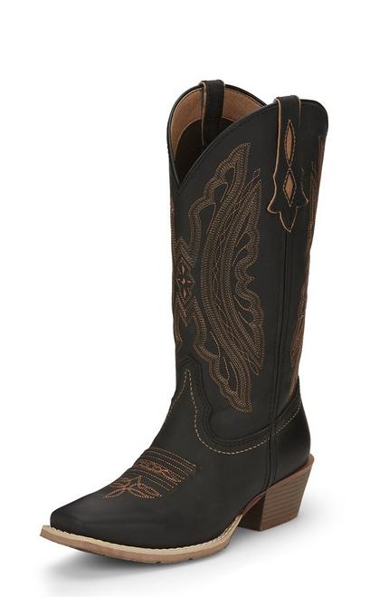 """Justin Ladies Boots L2963 12"""" REIN MIDNIGHT BLACK"""