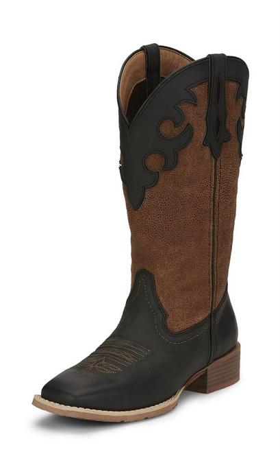 """Justin Ladies Boots L2966 12"""" LATTIE MIDNIGHT BLACK"""