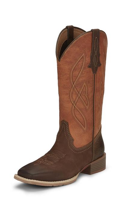 """Justin Ladies Boots L2969 12"""" BREAKAWAY MOKA"""