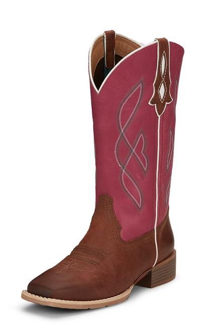 """Justin Ladies Boots L2970 12"""" BREAKAWAY RUBY BROWN"""
