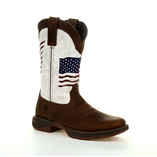 Lady Rebel by Durango® Women's Distressed Flag Embroidery Western Boot DRD0394 BAY BROWN AND WHITE