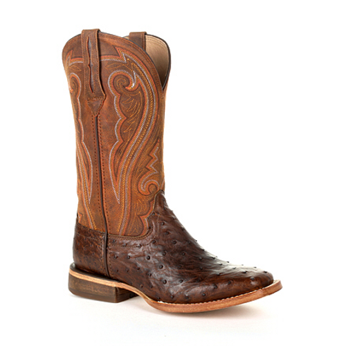 Premium Exotics Women's Full-Quill Ostrich Antiqued Saddle Western Boot DRD0389 ANTIQUED SADDLE OSTRICH