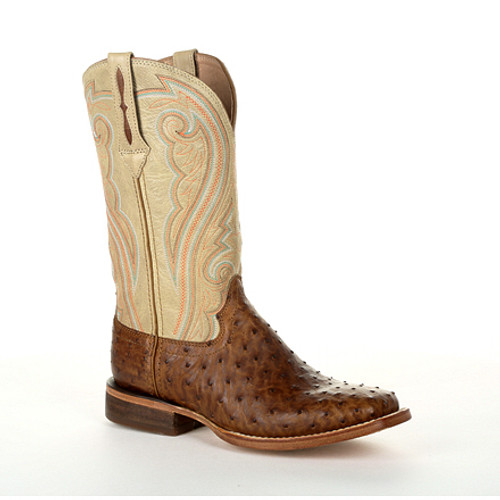 Durango® Premium Exotics Women's Full-Quill Ostrich Sunset Wheat Western Boot DRD0388 SUNSET WHEAT OSTRICH AND IVORY