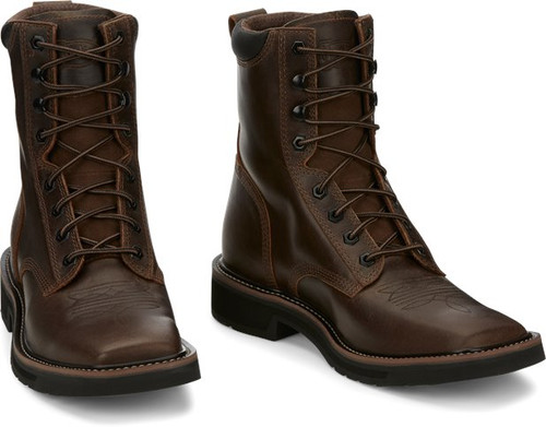 """Justin Mens Boots SE681 8"""" Pulley Aged Brown"""