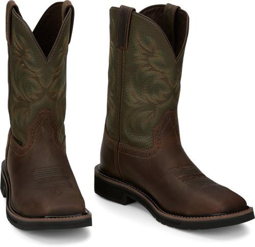 "Justin Mens Boots SE4688 11"" Driller Safety Toe Brown"