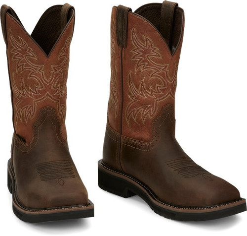 """Justin Mens Boots SE4812 11"""" Switch Safety Toe Brown"""