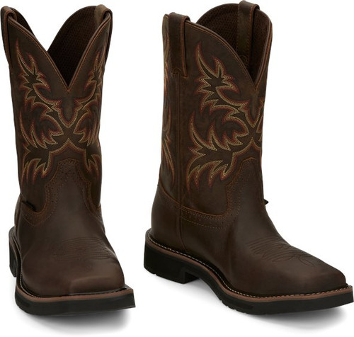 "Justin Mens Boots SE4682 11"" Driller Safety Toe Tan"
