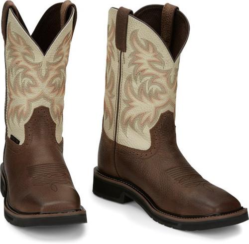 "Justin Mens Boots SE4684 11"" Driller Safety Toe Copper"