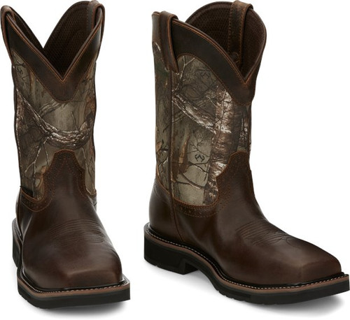 """Justin Mens Boots SE4677 11"""" Trekker Safety Toe Chocolate Brown"""