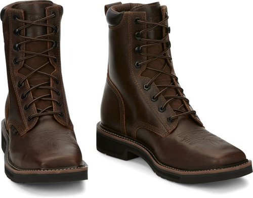 """Justin Mens Boots SE682 8"""" Pulley Safety Toe Brown"""