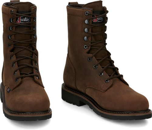 """Justin Mens Boots SE961 8"""" Drywall Safety Toe Brown"""