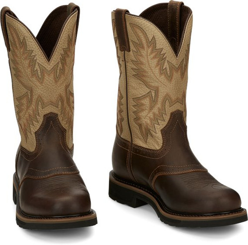 """ustin Mens Boots SE4660 11"""" Superintendent Golden Brown"""