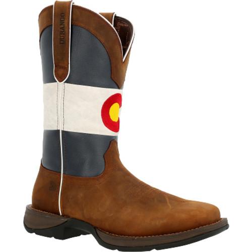 Rebel by Durango® Colorado Flag Western Boot DDB0346 BARK BROWN AND COLORADO FLAG