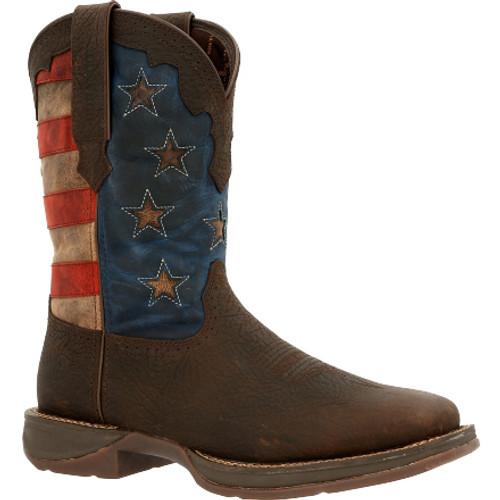 Rebel by Durango® Vintage Flag Western Boot DDB0328 DARK BROWN AND VINTAGE FLAG
