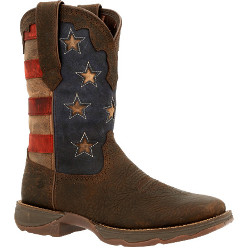 Lady Rebel by Durango® Women's Vintage Flag Western Boot DRD0409 DARK BROWN AND VINTAGE FLAG