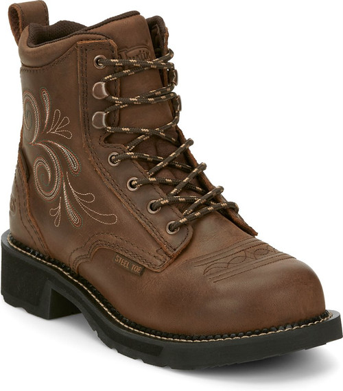 """Justin Ladies Boots GY985 6"""" Katerina Lace Up Steel Toe"""