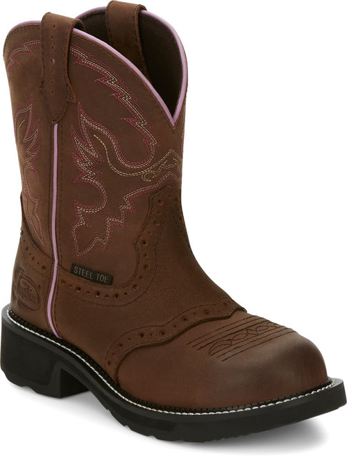 """Justin Ladies Boots GY9980 8"""" Wanette Steel Toe"""