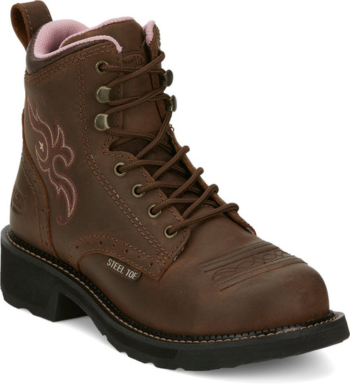"""Justin Ladies Boots GY991 6"""" Katerina Lace Up Steel Toe"""
