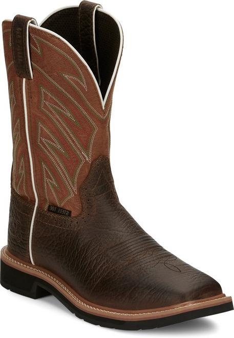 Justin Mens Boots SE4561 Electrician Steel Toe PARCHED ORANGE