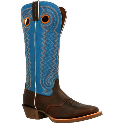 Durango® Mens Rebel Pro Dark Chestnut Buckaroo Western Saddle Boot DDB0337 DARK CHESTNUT BRILLIANT BLUE