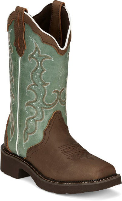 "Justin Ladies Boots GY2904 12"" Raya Distressed Brown"