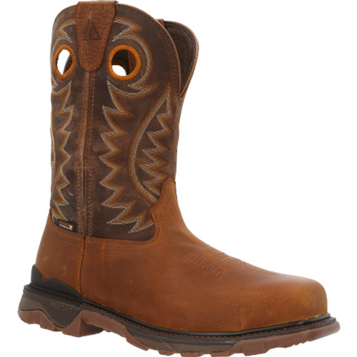 """Rocky Mens Carbon 6"""" Carbon Toe Waterproof Pull-On Western Boot RKW0350 BROWN"""
