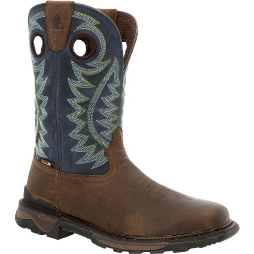 """Rocky Mens Carbon 6"""" Waterproof Pull-On Western Boot RKW0351 BROWN"""