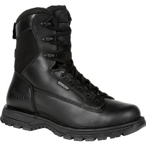 """Rocky Women's Portland 8"""" Black Side Zip Waterproof Public Service Boot RKD0093 BLACK"""