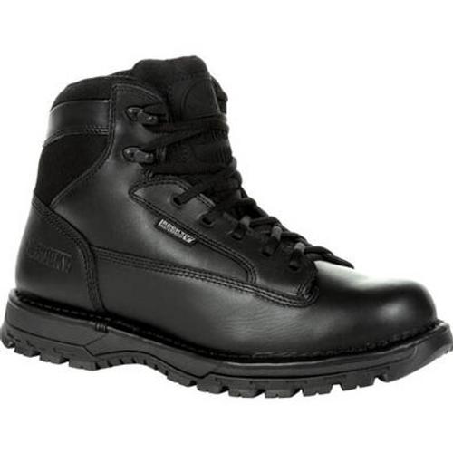 """Rocky Women's Portland 6"""" Black Side Zip Waterproof Public Service Boot RKD0094 BLACK"""