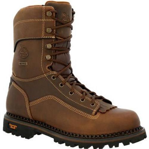 Georgia Boot Mens AMP LT Low Heel Logger Composite Toe Waterproof Work Boot GB00473 BROWN