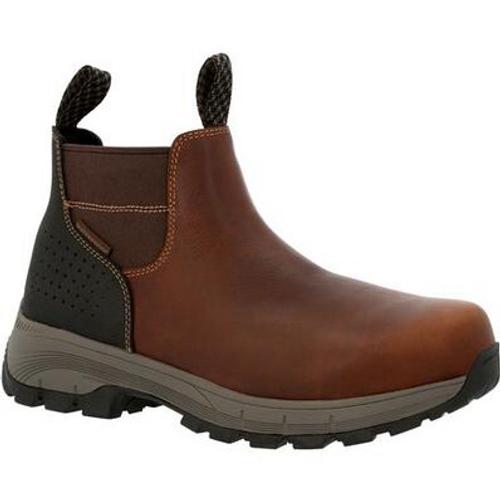 Georgia Boot Mens Eagle Trail Waterproof Alloy Toe Chelsea Work Boot GB00479 BROWN