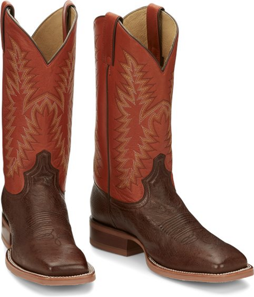 Justin Mens Boots JE802 Breck Antique Brown Smooth Ostrich