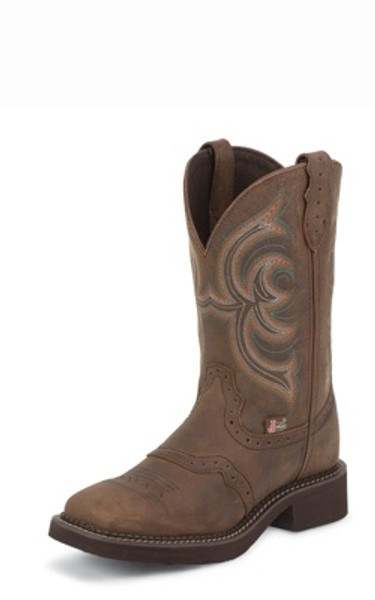"Justin Ladies Boots L9984 11"" AGED BARK W/PERFED SADDLE"