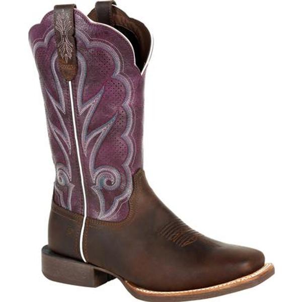Durango® Lady Rebel Pro Women's Ventilated Plum Western Boot DRD0377 OILED BROWN AND PLUM