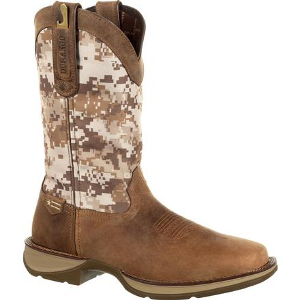 Rebel by Durango® Mens Desert Camo Pull-on Western Boot DDB0166 DUSTY BROWN AND DESERT CAMO
