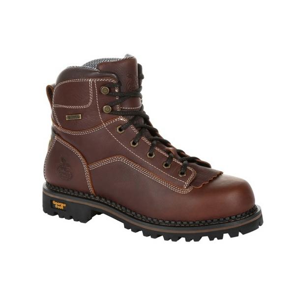 Georgia Boot Mens AMP LT Logger Low Heel Waterproof Work Boot GB00270 BROWN