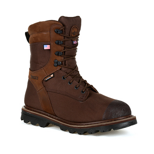 Rocky Mens Stalker Waterproof 1000G Insulated Made in the USA Outdoor Boot RKS0499 BROWN