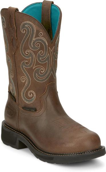 Justin Ladies Boots GY9991 Tasha Steel Toe Brown