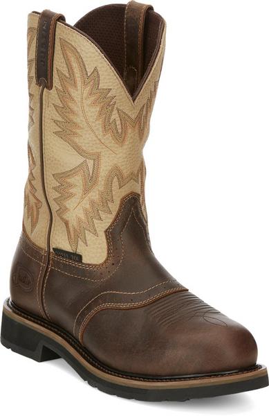 "Justin Mens Boots SE4661 11"" Superintendent Safety Toe Golden Brown"